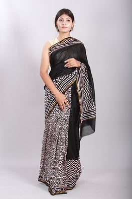 Chuna Patri Handblock Print Chanderi Silk Saree in a contrast blend of Black & White-60
