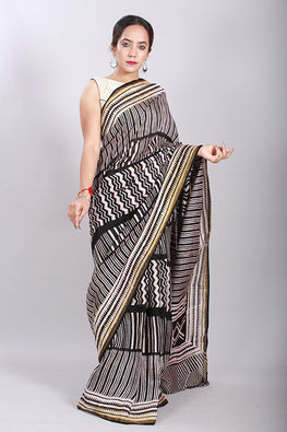 Chuna Patri Handblock Print Chanderi Silk Saree in a contrast blend of Black & White-61