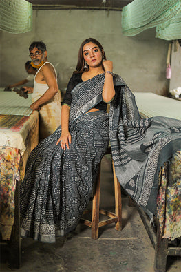Hand Block Printed Slub Cotton Saree-10