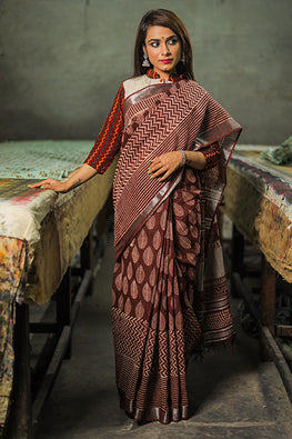 Hand Block Printed Slub Cotton Saree-11
