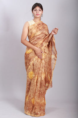 Okhai Hand Marble Printed Yellow Chanderi Silk Saree Online