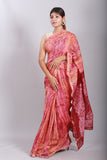 Hand Marble Printed Chanderi Silk Saree-7