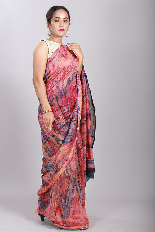 Hand Marble Printed Chanderi Silk Saree-8