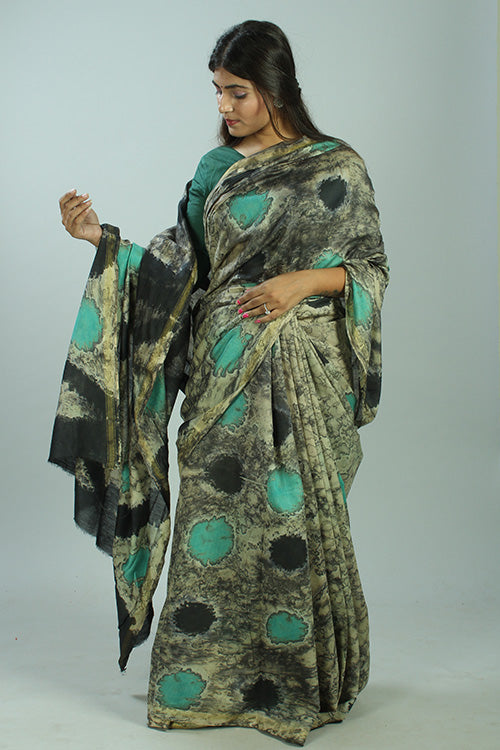 Okhai Hand Marble Printed Free Flow Of Colors Chanderi Silk Saree Online