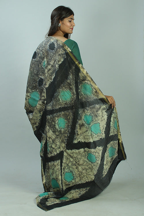 Hand Marble Printed Chanderi Silk Saree-10