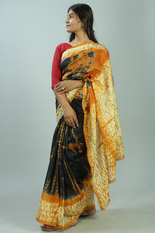 Okhai Hand Marble Printed Black And Yellow Chanderi Silk Saree Online