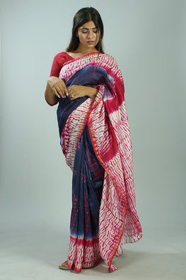 Okhai Hand Marble Printed Blue And Red Chanderi Silk Saree Online