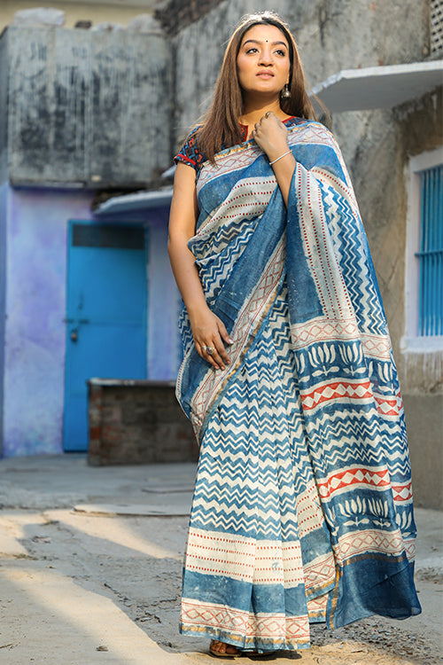 Keeping it Light: DABU INDIGO Handblock Printed Chanderi Silk Saree
