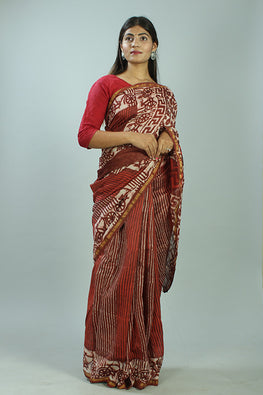 Kashish Dabu Handblock Print Chanderi Silk Saree-31