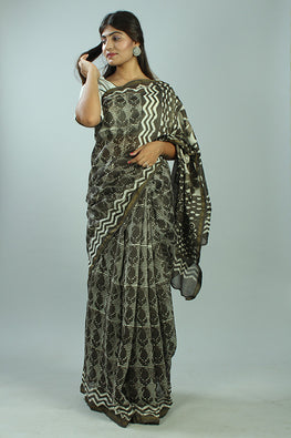 Kashish Dabu Handblock Print Chanderi Silk Saree-35