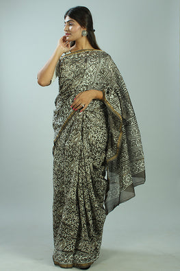 Kashish Dabu Handblock Print Chanderi Silk Saree-36