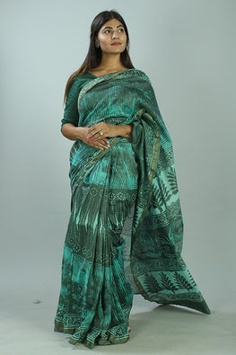Kashish Dabu Handblock Print Chanderi Silk Saree-39