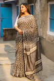 The Earth's Own : Kashish Dabu Handblock Print Cotton Slub Saree