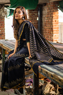 Sooti Syahi-Hand Block Printed Chanderi Silk Saree-10