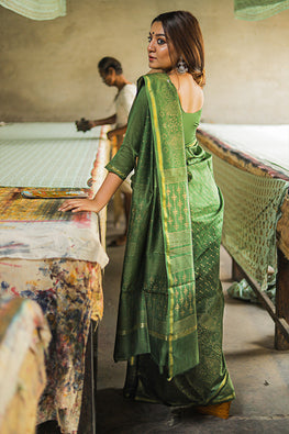 Sooti Syahi-Hand Block Printed Chanderi Silk Saree-12