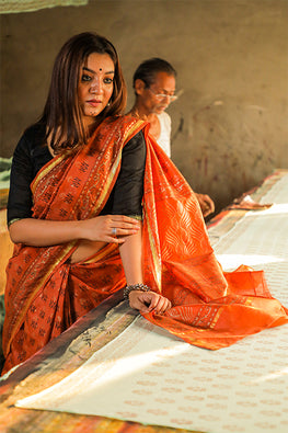 Sooti Syahi-Hand Block Printed Chanderi Silk Saree-13