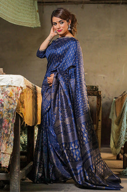 Sooti Syahi-Hand Block Printed Chanderi Silk Saree-14