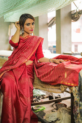 Sooti Syahi-Hand Block Printed Chanderi Silk Saree-15