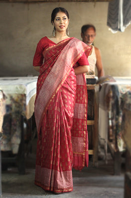 Handblock Print Chanderi Silk Saree-5