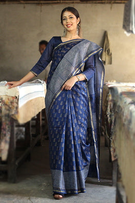 Handblock Print Chanderi Silk Saree-6