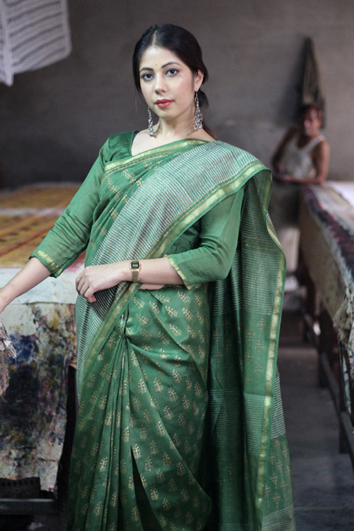Handblock Print Chanderi Silk Saree-7