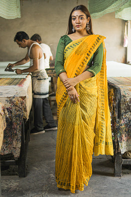 Handblock Print Chanderi Silk Saree-8