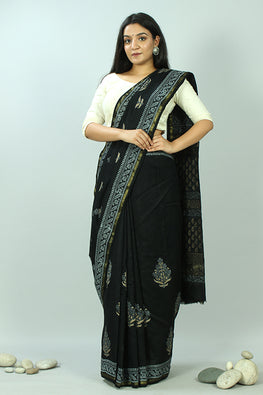 Sooti Syahi-Hand Block Printed Chanderi Silk Saree-11