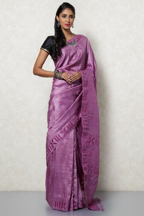 Handloom tasar silk saree with organza with cut work and embroidery