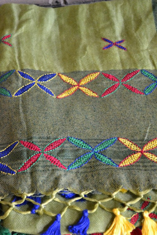 "Porgai ""Pasture"" Lambadi Hand Embroidered Handwoven Silk Stole"