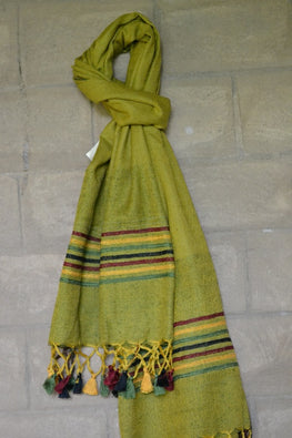 "Porgai ""Shades Of Cheer"" Lambadi Hand Embroidered Handwoven Silk Stole"