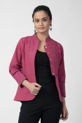 Rangsutra 'Sujni' Kantha Embroidered Pink Jacket