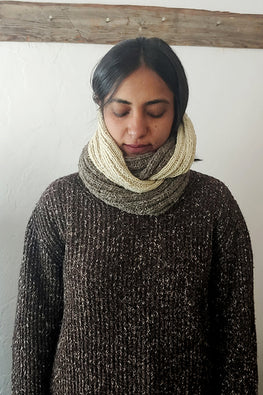 The Color Caravan Handknitted 'Hygge Unisex Infinity Scarf 03' in Handspun Indigenous Sheep Wool
