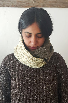 The Color Caravan Handknitted 'Hygge Unisex Infinity Scarf 02' in Handspun Indigenous Sheep Wool