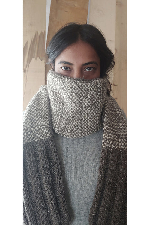 The Color Caravan Handknitted 'Hygge Unisex Muffler 04' in Handspun Indigenous Sheep Wool