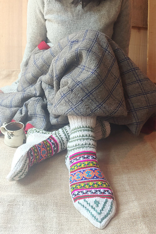 The Color Caravan Handknitted  'Moravian  Unisex Socks 01' in Handspun Indigenous Sheep Wool