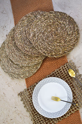 Handmade Sabai Grass Round Table Mat set of 4 (Natural)