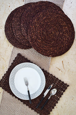 Handmade Sabai Grass Round Table Mat set of 4 (Brown)