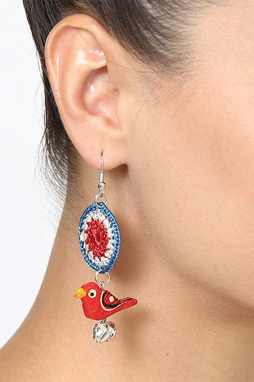 "Samoolam "" Wooden Parrot Bell Earrings ~ Red """