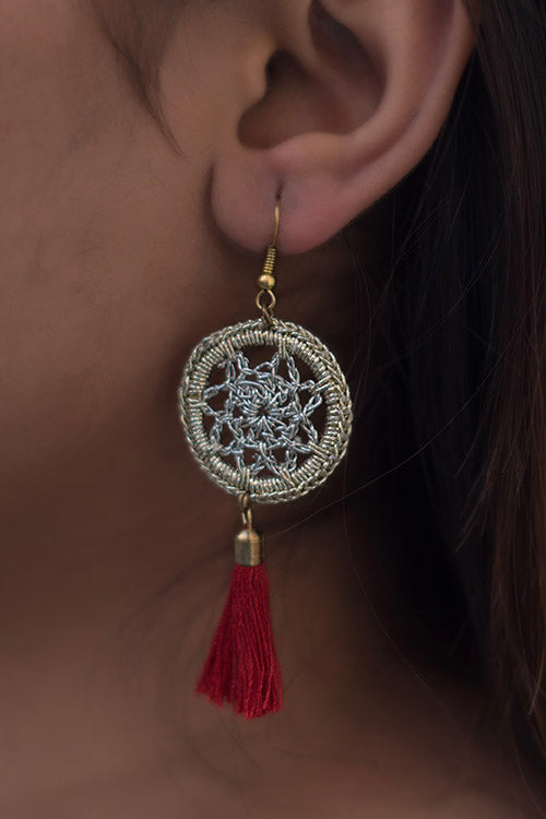 Samoolam Shimmer Red Tassel Earrings