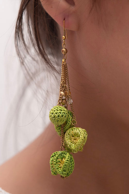Samoolam Swing Earrings ~ Green Bougainvillea
