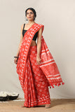 Okhai 'Inspire' Hand Block Printed Mirror Work Pure Cotton Saree