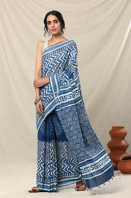 Okhai Sutra Handblock Printed Mirror Work Pure Cotton Saree Online