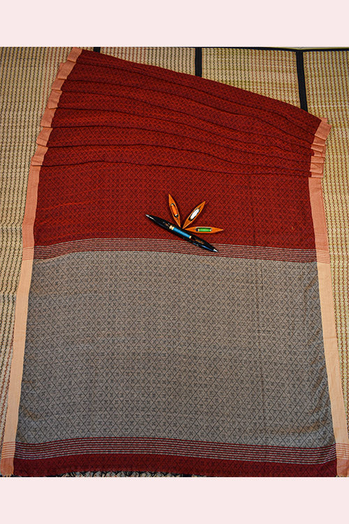 SHIPCO Handloom Cotton Shaft Work Red And Grey Saree