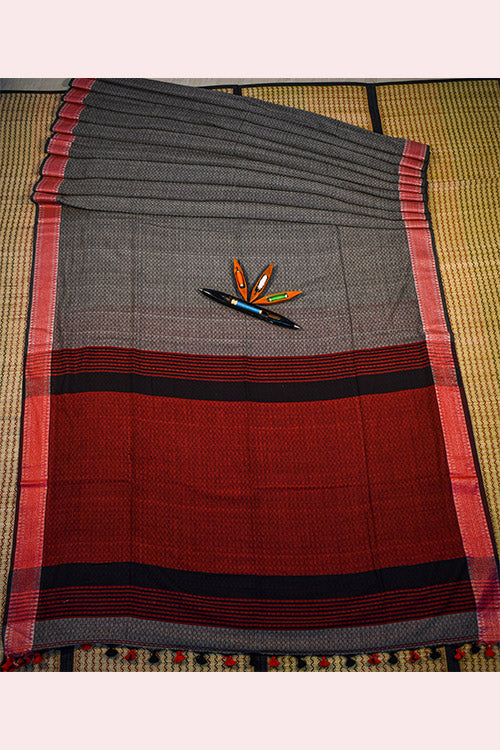 SHIPCO Handloom Cotton Red Saree
