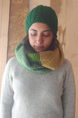 The Color Caravan Unisex 'Green Cable Cap and Large Infinity Scarf' set in Acrylic Wool