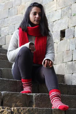 The Color Caravan Unisex Red Ribbed Muffler, Cable Cap & striped socks set in Acrylic Wool