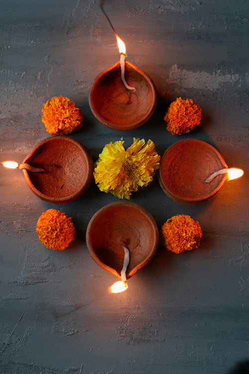 Okhai 'Deepam' Terracotta Diya (Set Of 8)