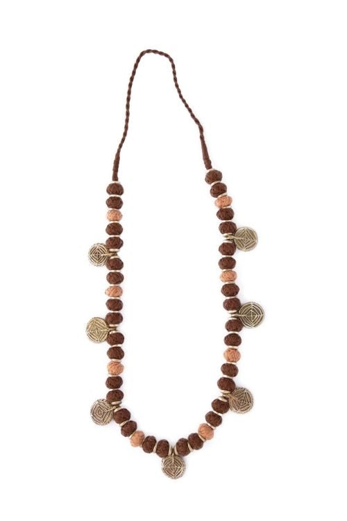 Miharu Brown Beige Gold Tone Necklace