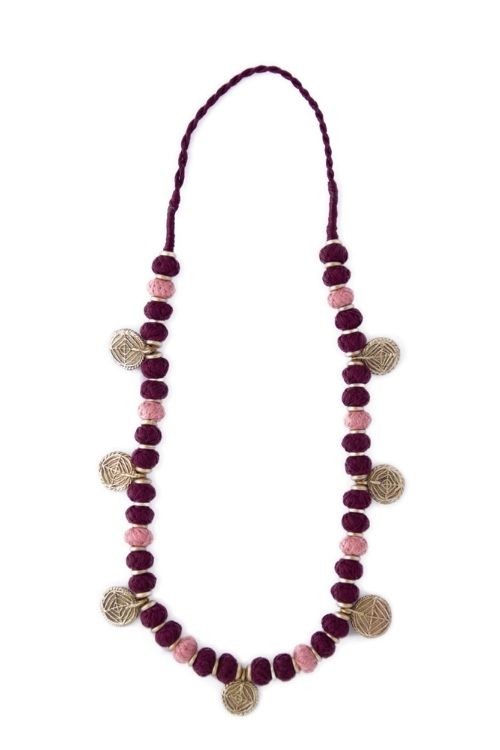 Miharu Pink Burgundy Gold Tone Necklace