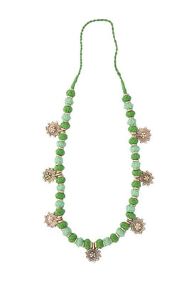 Miharu Green Gold Tone Necklace